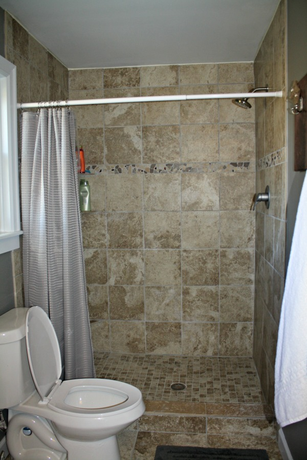 Master Bath With Just Shower before baby project: bathroom makeovers - chaunie brusie